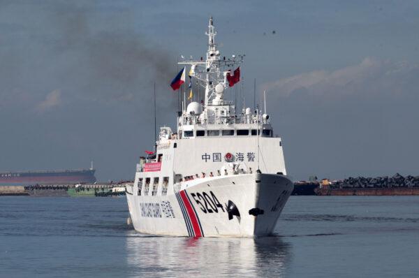 A Chinese Coast Guard ship prepares to anchor