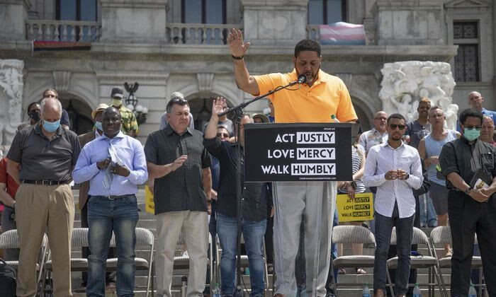 Dr. Joseph Green, St. Paul's Missionary Baptist Church, with other ministers, leads a prayer gathering at the Pennsylvania Capitol in Harrisburg, Pa., June 6, 2020. (Mark Pynes/PennLive)