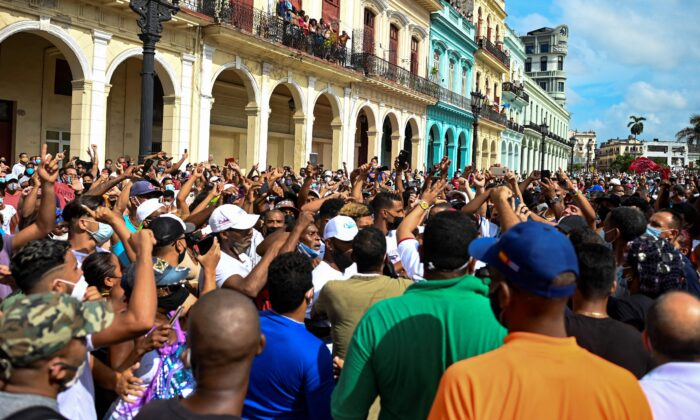 People take part in a demonstration against the communist regime of Cuban President Miguel Diaz-Canel in Havana on July 11, 2021. (Yamil Lage/AFP via Getty Images)
