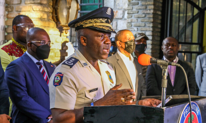 Haiti's Police General Director Leon Charles speaks during a press conference in Port-au Prince on July 11, 2021. (Valerie Baeriswyl/AFP via Getty Images)