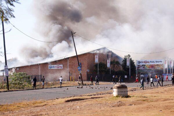A supermarket burns
