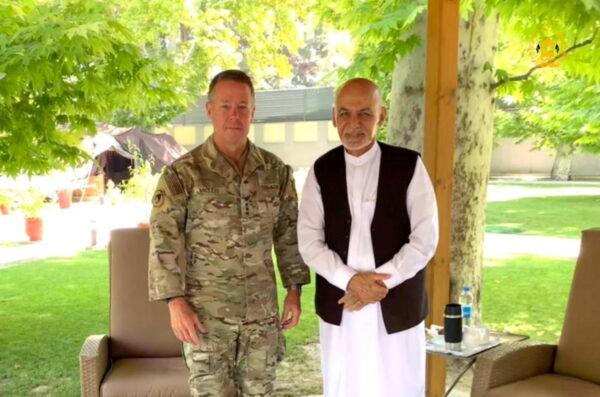 Afghanistan's President Ghani (R) meets U.S. General Miller, NATO mission commander, in Kabul