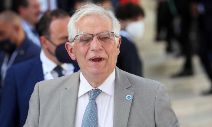 European Union foreign policy chief Josep Borrell arrives to attend the G-20 meeting of foreign and development ministers in Matera, Italy, on June 29, 2021. (Yara Nardi/Reuters)