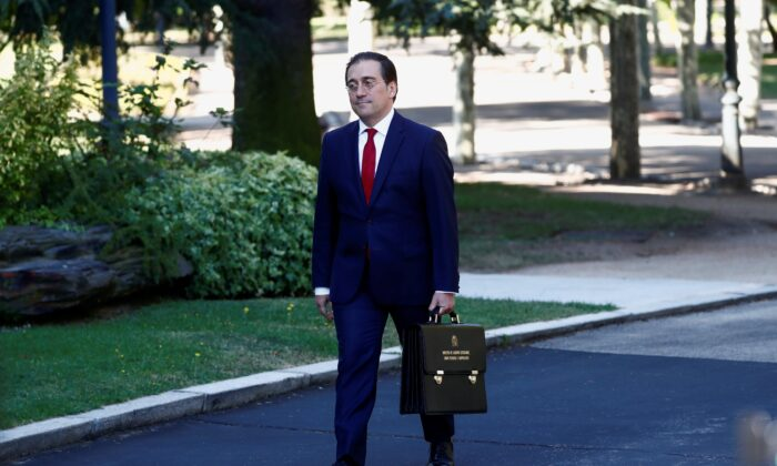 Spain's new Foreign Minister, Jose Manuel Albares, walks outside Moncloa Palace in Madrid, Spain, on July 13, 2021. (Javier Barbancho/Reuters)