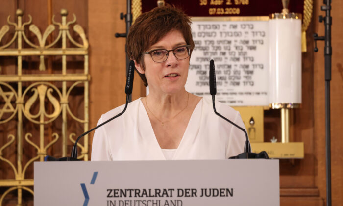 German Defense Minister Annegret Kramp-Karrenbauer speaks at the main synagogue in Leipzig, Germany, on June 21, 2021. (Sean Gallup/Getty Images)