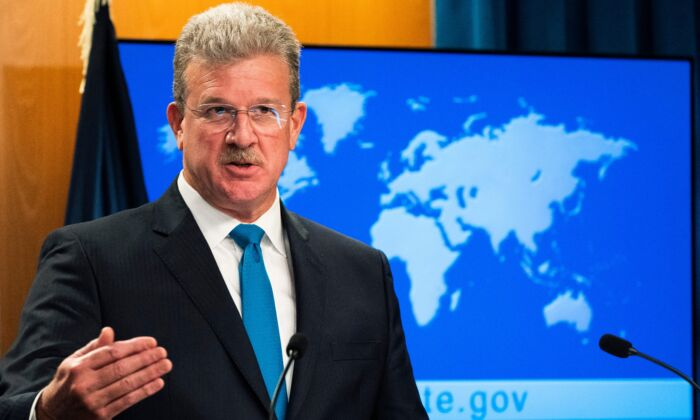 U.S. Acting Assistant Secretary for Conflict and Stabilization Operations Robert Faucher speaks to reporters at the State Department in Washington, on July 12, 2021. (Manuel Balce Ceneta/AFP via Getty Images)