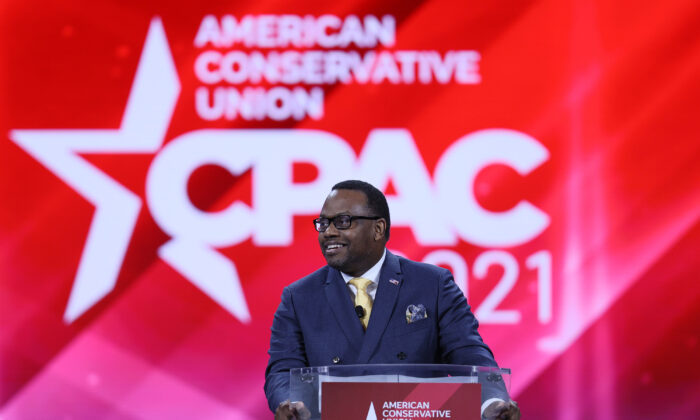 Autry Pruitt, CEO of New Journey PAC, addresses the Conservative Political Action Conference in Orlando, Fla., on Feb. 28, 2021. (Joe Raedle/Getty Images)