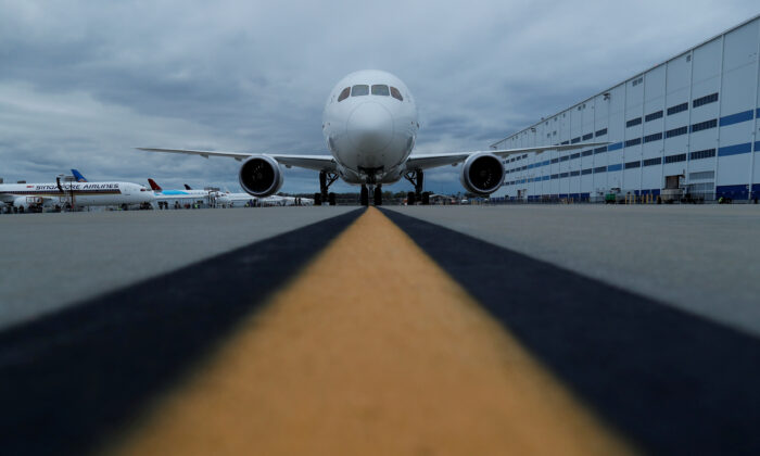 The Boeing 787-10 Dreamliner sits on the tarmac before a delivery ceremony to Singapore Airlines at the Boeing South Carolina Plant in North Charleston, S.C., on March 25, 2018. (Randall Hill/File Photo/Reuters)