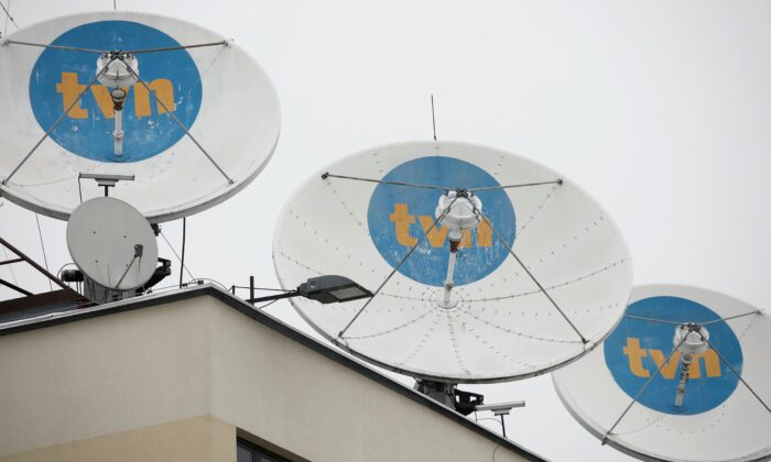 Private television TVN logo is seen on satellite antennas at their headquarters in Warsaw, Poland, on Feb. 10, 2021. (Kacper Pempel/Reuters)
