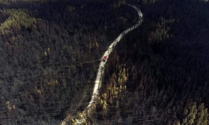 A fire truck drives across a forest burnt by wildfire towards to the settlement of Zapasnoye in Chelyabinsk Region, Russia, July 12, 2021. (Alexey Malgavko/Reuters)