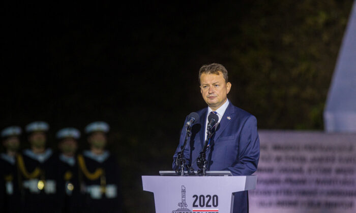 Poland's Minister of Defense Mariusz Blaszczak delivers a speech during a commemorative ceremony to mark the 81st anniversary of the outbreak of World War Two at Westerplatte Memorial in Gdansk, Poland, on Sept. 1, 2020. (Michal Ryniak/Agencja Gazeta/via Reuters)