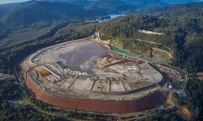 MMG mine's tailings dam in north-eastern Tasmania, Friday, May 21, 2021. (AAP Image / Bob Brown Foundation)