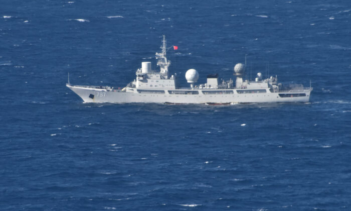 People's Liberation Army (Navy) General Intelligence Ship Tianguanxing (AGI-797) transits through the Arafura Sea on the morning of July 11, 2021 (Supplied: Australian Department of Defence)
