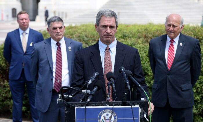 Attorney Ken Cucinelli (2nd R) speaks during a press conference held with Rep. Louie Gohmert (R) (R-Texas) and Rep. Andrew Clyde (2nd L) (R-Ga.) outside the U.S. Capitol in Washington on June 14, 2021. (Win McNamee/Getty Images)