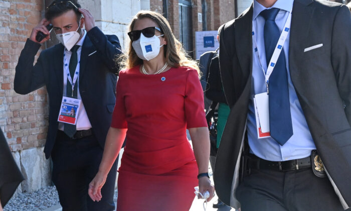 Canada's Minister of Finance and Deputy Prime Minister Chrystia Freeland arrives for the G20 finance ministers and central bankers meeting in Venice, Italy, on July 9, 2021. (Andreas Solaro/AFP via Getty Images)