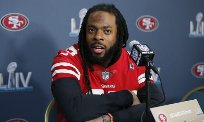 Richard Sherman #25 of the San Francisco 49ers speaks to the media during the San Francisco 49ers media availability prior to Super Bowl LIV at the James L. Knight Center in Miami, Florida on January 30, 2020. (Michael Reaves/Getty Images)