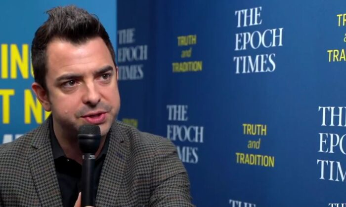 """Pastor Lucas Miles speaking in an interview with """"Crossroads"""" host Joshua Philipp on July 13, 2021. (Screenshot/The Epoch Times)"""
