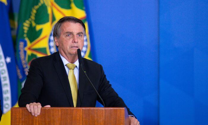 President of Brazil Jair Bolsonaro speaks during an event at Planalto Government Palace in Brasilia, Brazil, on June 29, 2021. (Andressa Anholete/Getty Images)