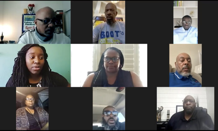 African American community leaders hold a Zoom press conference on July 8 to voice opposition to the legalization of hallucinogenic drugs in California. (Courtesy of Kelli Reid of McNally Temple Associates)