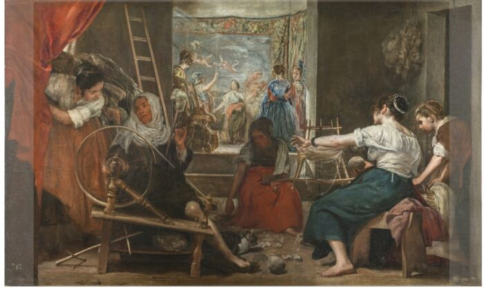 """In this image of """"The Spinners,"""" 1655–1660, by Velázquez, the shaded areas highlight the three edges of the original composition that were expanded in the 18th century. (Prado Museum)"""