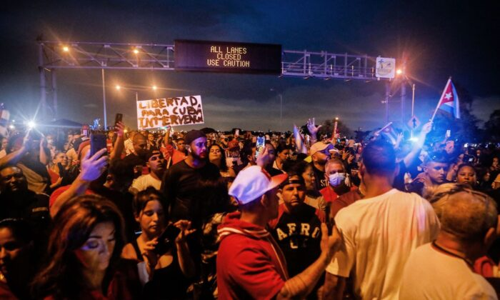 People block Palmetto Expressway during a protest showing support for Cubans demonstrating against their government, in Miami, on July 13, 2021. (Eva Marie Uzcategui/AFP via Getty Images)