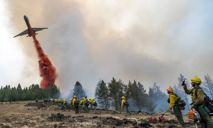 Wildland firefighters watch and take video with their cellphones as a plane drops fire retardant on Harlow Ridge above the Lick Creek Fire, southwest of Asotin, Wash., on July 12, 2021. (Pete Caster/Lewiston Tribune via AP)