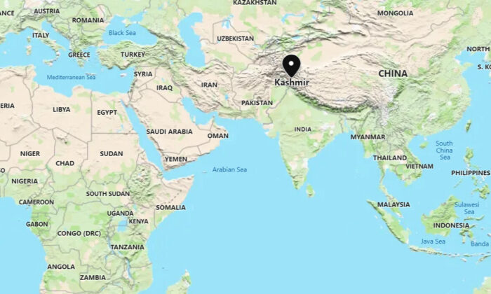 This screenshot shows the location of Indian-controlled Kashmir, where Indian forces killed three suspected terrorists in a shootout in Kashmir, India, on July 14, 2021. (Google Map/Screenshot via The Epoch Times)