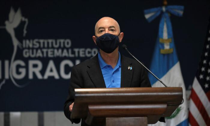 Homeland Securit Secretary Alejandro Mayorkas delivers a speech in Guatemala City, Guatemala, on July 7, 2021. (Guatemala Presidency via Reuters)