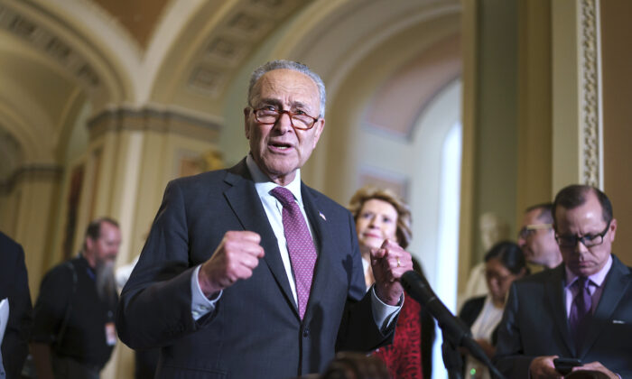 Senate Majority Leader Chuck Schumer (D-N.Y.) speaks to reporters before meeting with Democratic members of the Texas Legislature who are trying to kill a Republican bill in Austin that would make it harder to vote in the Lone Star State, at the Capitol in Washington, on July 13, 2021. (AP Photo/J. Scott Applewhite)