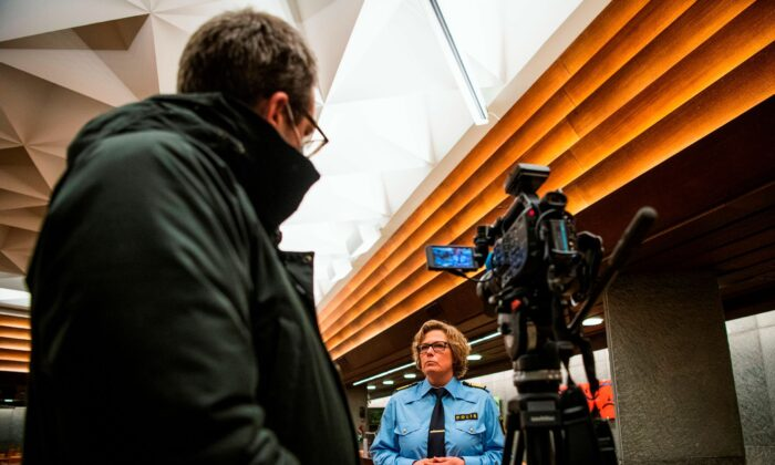 Carina Lennquist, Deputy Regional Police Chief, gives an interview following a press conference at the city hall in Vetlanda on March 4, 2021, one day after a stabbing attack. (Jonathan Nackstrand/AFP via Getty Images)