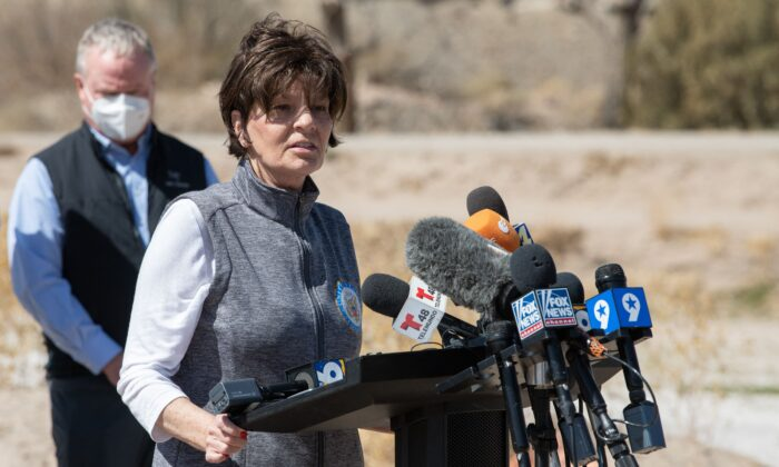 Rep. Yvette Herrell (R-N.M.) speaks to a press conference during a congressional border delegation visit to El Paso, Texas on March 15, 2021. (Justin Hamel/AFP via Getty Images)