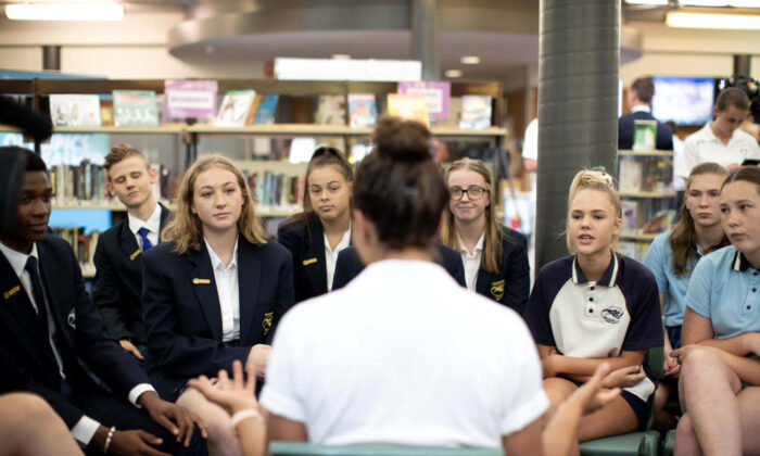 Students at Cranebrook High School listen to a guest speaker on Feb. 8, 2019, in Sydney, Australia. (Mark Metcalfe/Getty Images)