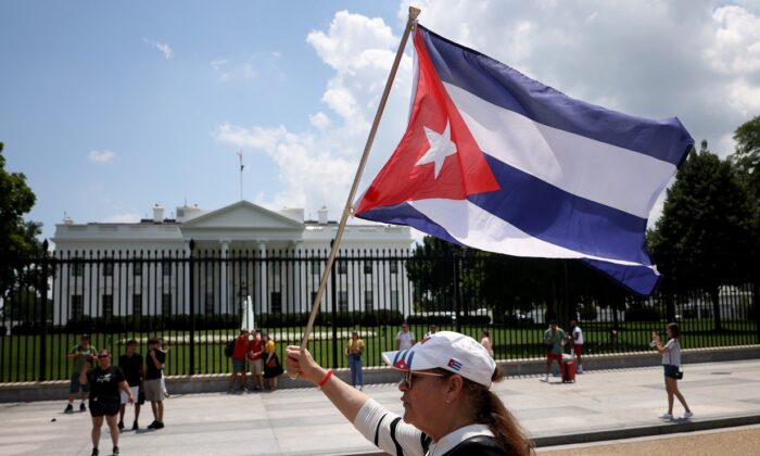 Cuban-Americans demonstrate in support of demonstrations taking place in Cuba, outside the White House on July 12, 2021. (Win McNamee/Getty Images)
