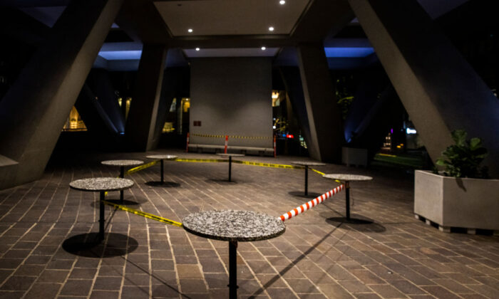 Tables taped off in Australia Square in CBD of Sydney, Australia on July 13, 2021 (Jenny Evans/Getty Images)