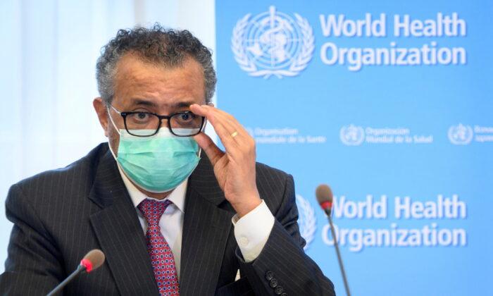 World Health Organization (WHO) Director General Tedros Adhanom Ghebreyesus on the sidelines of the opening of the 74th World Health Assembly at the WHO headquarters, in Geneva, Switzerland May 24, 2021. (Laurent Gillieron/Pool via REUTERS)