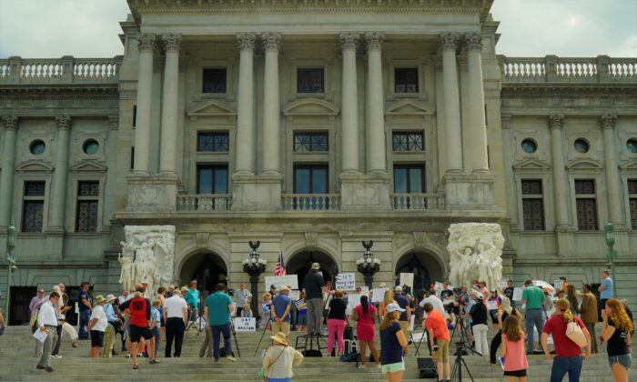 The Rally to End Critical Race Theory was held on the Capitol building steps in Harrisburg, Pennsylvania on July 14, 2021. (Steve Wen/Epoch Times)
