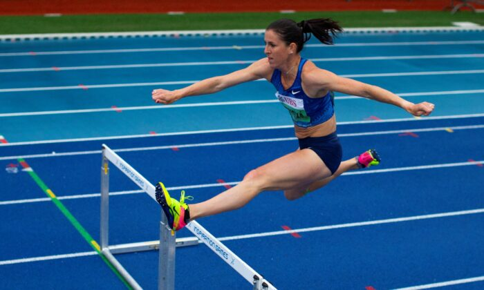 Zuzana Hejnova of the Czech Republic competes in the 300 meter hurdles women in the Weltklasse track meet in Papendal, outside Arnhem, Netherlands on July 9, 2020. (Peter Dejong/AP Photo)