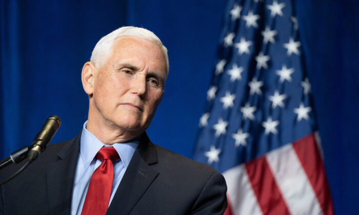 Former Vice President Mike Pence speaks to a crowd during an event sponsored by the Palmetto Family organization in Columbia, South Carolina, on April 29, 2021. (Sean Rayford/Getty Images)
