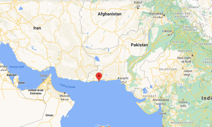 This screenshot shows the location of Pasni, a coastal town in Balochistan province, where a bomb blast killed two soldiers and wounded some more, in Pakistan, on July 14, 2021. (Google Map/Screenshot via The Epoch Times)