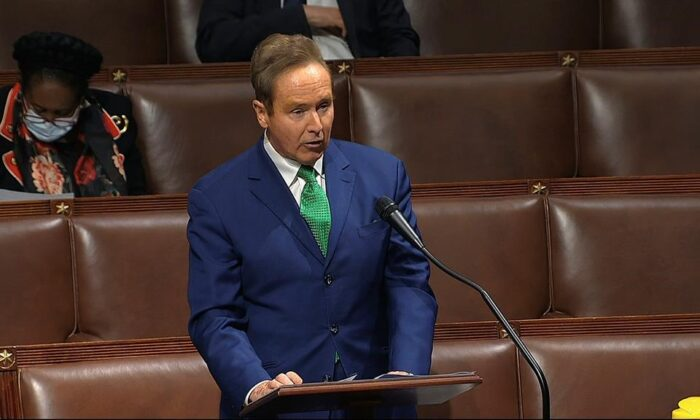 In this still image taken from video footage, Rep. Brian Higgins, D-N.Y., speaks on the floor of the House of Representatives at the U.S. Capitol in Washington, on April 23, 2020. Higgins says it's a relief to see Prime Minister Justin Trudeau is aiming to let U.S. citizens who are fully vaccinated against COVID-19 back into Canada by mid-August. (AP-HO, House Television/The Canadian Press)