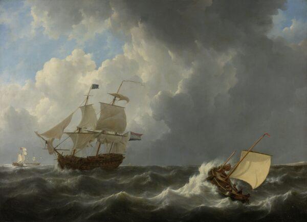 Ships,In,A,Turbulent,Sea,,By,Johannes,Christiaan,Schotel,,1826,
