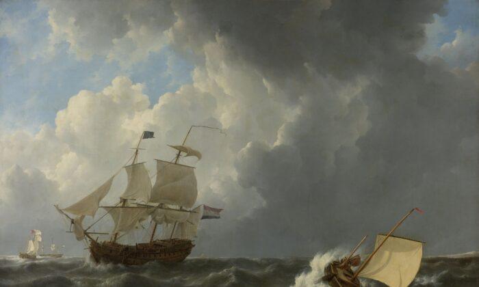 """Ships in a Turbulent Sea,"" 1826, by Johannes Christiaan Schotel. Oil on canvas. Rijksmuseum. (Public Domain)"
