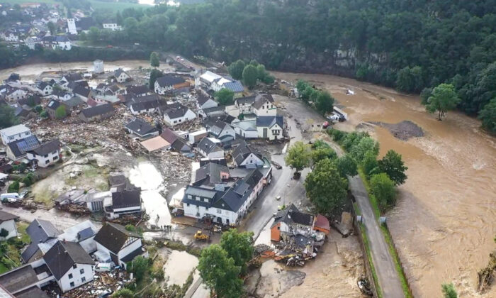 A photo, taken with a drone, shows the devastation caused by the flooding of the Ahr River in the Eifel village of Schuld, western Germany on July 15, 2021. (Christoph Reichwein/dpa via AP)