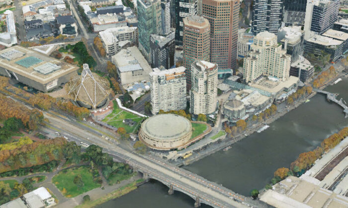 A view of Melbourne in Victoria, Australia using the Digital Twin Victoria. (Victoria Department of Environment, Land, Water and Planning)