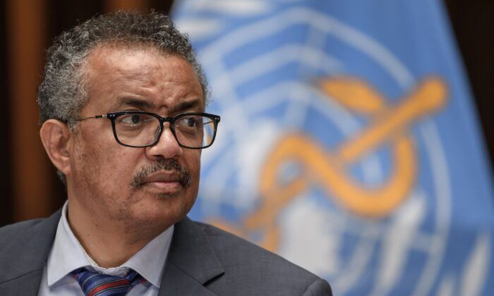 World Health Organization (WHO) Director-General Tedros Adhanom Ghebreyesus attends a press conference organized by the Geneva Association of United Nations Correspondents (ACANU) amid the COVID-19 outbreak, caused by the novel coronavirus, at the WHO headquarters in Geneva, on July 3, 2020. (Fabrice Coffrini/AFP via Getty Images)
