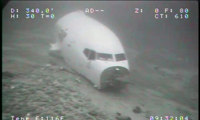 The jet cabin from Transair Flight 810 rests on the Pacific Ocean floor off the coast of Honolulu, Hawaii, on July 8, 2021. (Sea Engineering, Inc./NTSB via AP)