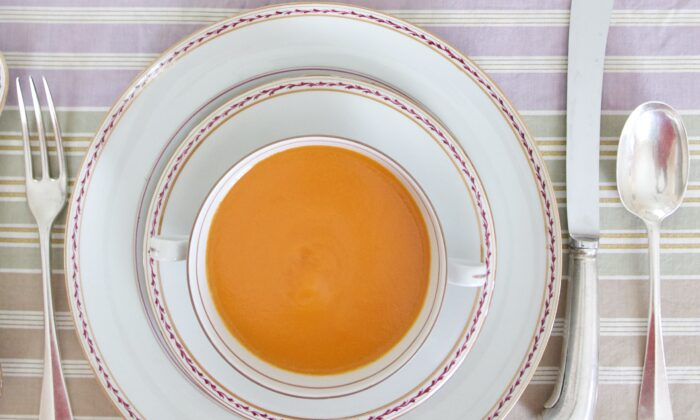 As bright in color as in flavor, this chilled carrot soup needs no extra garnishes. (Victoria de la Maza)