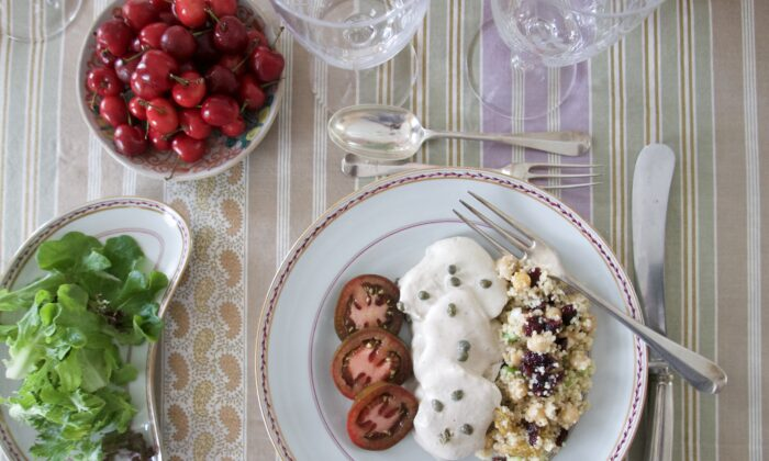 The menu for this dinner is sophisticated in its flavors but casual in its preparation. A green salad and simply dressed tomatoes round out the meal. (Victoria de la Maza)
