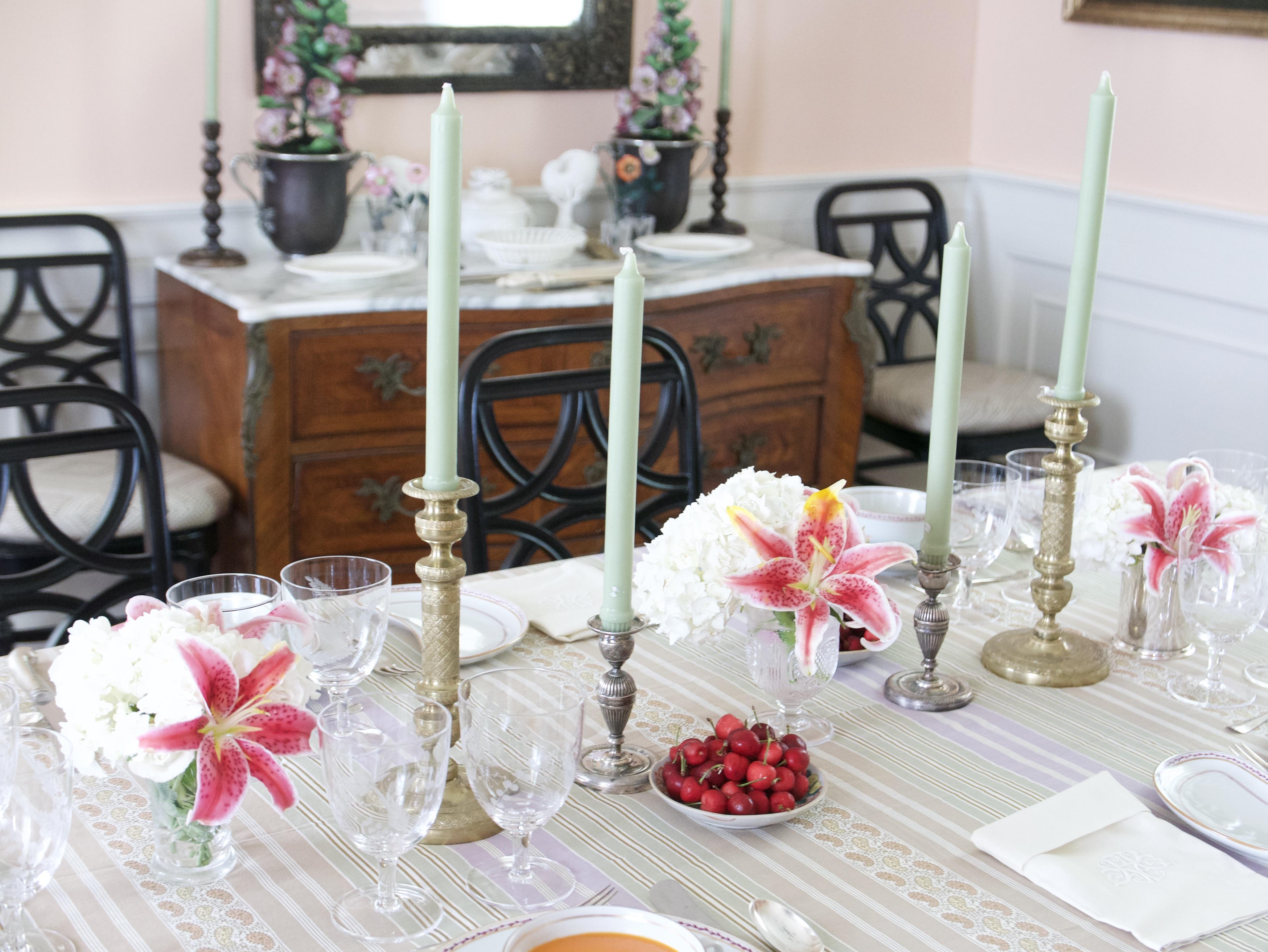 cold summer dinner table setting horizontal