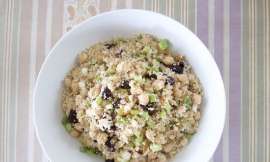 Couscous Salad With Scallions, Golden Raisins, and Chickpeas